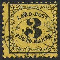 Gestempelt 3 Kr Auf Gelbem Dünnerem Papier, Farbfrische Marke Mit Sauber Aufgesetztem K2 STETTEN A.K.M., Linker Oberer E - Ohne Zuordnung