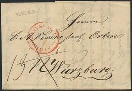 Brief YSNI. R.3, 1835, Vorphilabrief, Taxiert Nach Würzburg Mit Auslagenstempel Von Augsburg, Pracht - Bayern