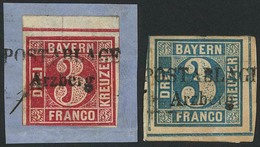 Briefstück Arzberg Je Klar Auf Kleinem Prachtbriefstück Mit Vom Unterrand Stammender 3 Kr Blau Bzw. Vom Oberrand Stammen - Deutschland