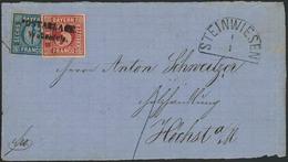 Briefstück Wallenfels Klar Nebst Halbkreisstempel STEINWIESEN 1/1 Auf Briefvorderseite Mit Buntfrankatur Nach Höchst A.M - Ohne Zuordnung