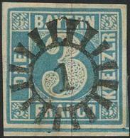 Gestempelt 1 - ABENSBERG/ABBACH, Perfekter Abschlag Auf Farbfrischer, Allseits Vollrandiger 3 Kr Blau, Kabinett, Sign. B - Bayern