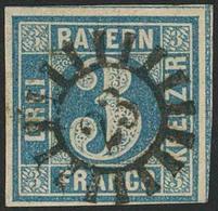 Gestempelt 23 - BAYREUTH, Herrlich Zentrisch Klar Auf Farbfrischer, Unten Schmal-, Sonst Breitrandiger 3 Kr Blau Platte  - Bayern