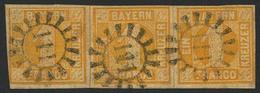 Gestempelt 111 - ERBENDORF, Drei Klare Abschläge Auf Waagerechtem Dreierstreifen 1 Kr Gelb, Links Unten Winzig Berührt,  - Bayern