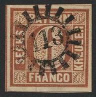 Gestempelt 113 - GRAFENAU, Zentrisch Klar Auf Allseits Breitrandigem Kabinettstück 6 Kr Braun Type I, Sign. Brettl BPP - Bayern