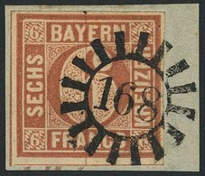 Briefstück 168 - KRUMBACH, Glasklar Auf Kabinettbriefstück Mit Breitrandiger 6 Kr Braun Type I, Sign. V. D. Weid - Bayern