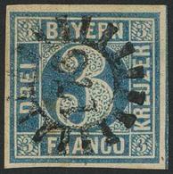 Gestempelt 176 - LANDSTUHL, Zentrisch Auf Allseits Vollrandiger 3 Kr Blau Platte I, Sign. Brettl BPP - Bayern