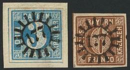 Briefstück Gestempelt 177 - LANGENFELD, Je Glasklar Und Zentrisch Auf Kabinettbriefstück 3 Kr Blau Und Kabinettstück 6 K - Bayern