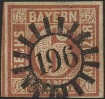 Gestempelt 196 - MARKTBREIT, Glasklar Auf Dreiseitig Vollrandiger 6 Kr Type I, Unten Teils Randlinienschnitt, Rechte Obe - Bayern