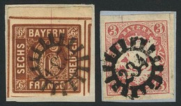 Briefstück 234 - NEUSTADT A. A. / KARLSTADT, Klar Auf Zwei Kabinettbriefstücken, 6 Kr Aus Der Linken Oberen Bogenecke St - Bayern