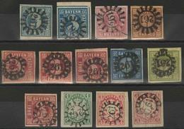 Gestempelt 261 - KRONACH, 13 Pracht- Oder Kabinettstücke, GMR Mit Normalen Ziffern Klar Auf MiNr. 2 II (zwei Stück, Daru - Bayern
