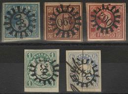 Gestempelt 290 - LOHR, Je Zentrisch Klar Auf Fünf Voll- Bis Meist Breitrandigen Marken, MiNr. 2 II, 4 II, 9, 14 C (etwas - Bayern