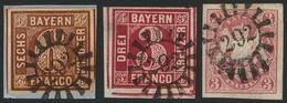 Gestempelt 292 - LUDWIGSTADT, Je Klar Auf Drei Voll- Bis Breitrandigen Prachtstücken, Darunter Linke Untere Bogenecke 3  - Bayern
