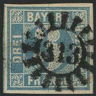 Gestempelt 313 - SCHWABMÜNCHEN, Klar Und Gerade Auf Farbfrischer Und Vollrandiger 3 Kr Blau Platte I, Pracht, Sign. Bret - Bayern
