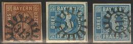 Gestempelt Briefstück 313 - SCHWABMÜNCHEN / MERING, Je Klar Auf Drei Voll- Bis Meist Breitrandigen Prachtstücken - Bayern