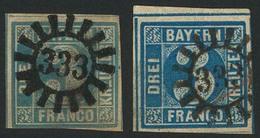 Gestempelt 333 - STEINWIESEN / NELLENBRUCK, Je Klar Auf 3 Kr Hellblau (unten Teils Randlinienschnitt) Und 3 Kr Blau (Kni - Bayern