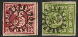 Gestempelt 337 - NEUENMARKT, Je Zentrisch Auf Breitrandigen Prachtstücken 3 Und 12 Kr - Bayern