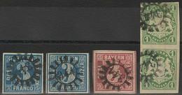 Gestempelt 344 - THIERSHEIM / NEUNBURG, Meist Zentrisch Auf Zwei Breitrandigen Marken 3 Kr Blau (von Versch. Platten), 3 - Bayern