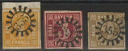 Gestempelt 355 - NORDHALBEN, Je Klar Auf Oberrandstück 1 Kr Gelb, Breitrandiger 3 Kr Tiefrot Sowie Oben Rechts Kurz Berü - Bayern