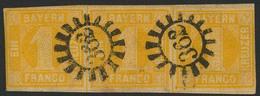 Gestempelt 362 - OBERNBURG, Zwei Klare Abschläge Auf Links Etwas Berührtem Waagerechtem Dreierstreifen 1 Kr Gelb, Rechts - Bayern