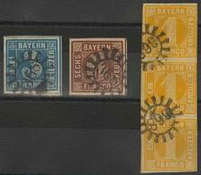 Gestempelt 368 - WAISCHENFELD / OBERVIECHTACH, Klar Auf Je Breitrandiger 3 Kr Blau Mit Ausgefüllten Ecken Und 4 Kr Braun - Bayern