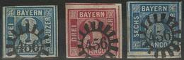 Gestempelt 456 - SCHESSLITZ, Herrlich Klare Abschläge Auf Drei Schmal- Bis Meist Breitrandigen Prachtstücken, Darunter 3 - Bayern