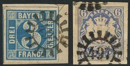 Briefstück 497 - STADTSTEINACH, Klar Auf Zwei Prachtbriefstücken 3 Kr Blau (sign. Brettl BPP) Und 6 Kr Wappen - Bayern