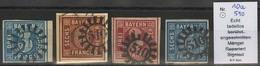 Gestempelt Briefstück 510 - MARKTLEUTHEN / SULZBACH, Je Klar Auf 3 Kr Blau Vom Rechten Bogenrand, 6 Kr Braun Und 3 Kr Ro - Bayern