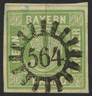 Gestempelt 564 - SCHAUENSTEIN, Glasklarer Luxusabschlag Auf Farbfrischer Und Breitrandiger 9 Kr Mattblaugrün, Rs. Zwei D - Bayern