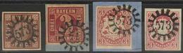 Gestempelt Briefstück 573 - WEISSENSTADT, Je Herrlich Klar Auf Vier Kabinettstücken Bzw. -briefstücken, Darunter 3 Kr Wa - Bayern