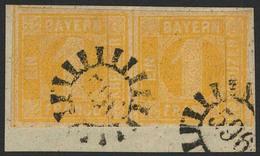 Briefstück 596 - WOLFSTEIN, Zwei Abschläge Auf Briefstück Mit Allseits Vollrandigem Waagerechtem Paar 1 Kr Gelb, Pracht - Bayern