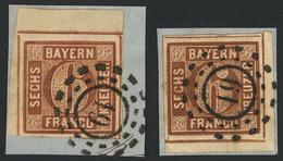 Briefstück 19 - ANSBACH, Type A, Je Glasklar Auf Zwei Kabinett-Briefstücken Mit Eckrandstücken 6 Kr Aus Linker Oberer Bz - Bayern