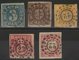 Gestempelt 22 - ASCHAFFENBURG, Je Herrlich Zentrisch Klar Auf Fünf Farbfrischen Werten, Die 18 Kr-Marke Unten Links Und  - Bayern