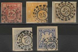 Gestempelt Briefstück 25 - AU Bei München, Je Herrlich Klar Auf Fünf Farbfrischen, Voll- Bis Breitrandigen Werten, Die 1 - Bayern