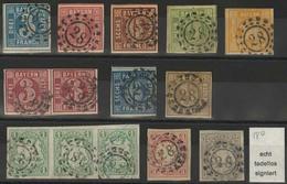 Gestempelt 28 - AUGSBURG, 11 Verschiedene, Ausgesucht Farbfrische, Voll- Bis Breitrandige Werte, MiNr. 2 II, 3 I, 4 II,  - Bayern
