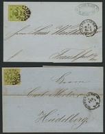 Brief 28 - AUGSBURG, Klar Auf Zwei Briefen Mit Je Vollrandiger 9 Kr Als EF, Aus 1861 Nach Frankfurt A.M. Bzw. 1862 Nach  - Bayern