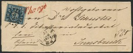 """Brief 28 - AUGSBURG, Klar Nebst Auf Die Marke übergehendem Rotem L1 """"Chargé"""" Auf Am 30.08.1866 Nach Innsbruck/Österreich - Bayern"""