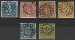 Gestempelt 32 - BAMBERG, Sechs Verschiedene, Ausgesucht Farbfrische, Voll- Bis Breitrandige Exemplare, MiNr. 2 II, 3 I,  - Bayern