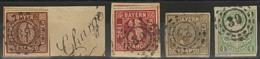 Briefstück Gestempelt 39 - BEILNGRIES, Je Klar Auf Vier Verschiedenen, Ausgesucht Farbfrischen, Voll- Bis Breitrandigen  - Bayern