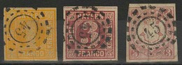 Gestempelt 45 - BERGZABERN, Je Herrlich Klar Und Zentrisch Auf Drei Farbfrischen Prachtstücken, 3 Kr Wappen Kurzes Stück - Bayern