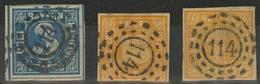 Gestempelt 114 - ERLANGEN, Je Klar Auf Drei Farbfrischen Werten, 18 Kr Unten Angeschnitten, Sonst Tadellos, 3 Kr Sogar M - Bayern