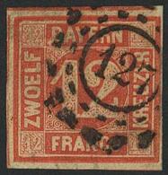 Gestempelt 127 - FEUCHTWANGEN, Klar Auf Rechts Ausgebesserter, Sonst Dreiseitig Breitrandiger 12 Kr - Bayern