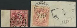 Gestempelt Briefstück 132 - FORCHHEIM, 16 Schaufeln, Auf 3 Kr Quadratausgabe Mit Links 11 Mm Bogenrand (oben Lupenrand)  - Bayern