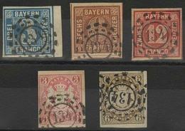 Gestempelt 134 - FRANKENTHAL, Je Herrlich Klar Auf Fünf Werten, U.a. 3 Kr Blau Vom Rechten Bogenrand, 12 Kr Rot Reparier - Bayern