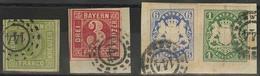 Gestempelt Briefstück 144 - FÜRSTENFELDBRUCK, Klar Auf 9 Kr Grün, Briefstück 3 Kr Rot Sowie Briefstück Mit Farbfrankatur - Bayern