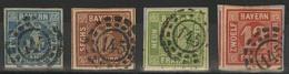 Gestempelt Briefstück 145 - FÜRTH, Klar Auf Vier Verschiedenen Werten, 12 Kr Rechts Randlinienschnitt, Sonst Breitrandig - Bayern