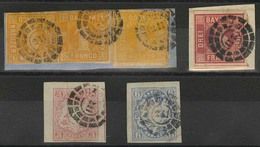 Briefstück Gestempelt 211 - HOF, Kleine Ziffern, Briefstück Mit Drei Einzelstücken 1 Kr Gelb In Zwei Deutlich Unterschie - Bayern