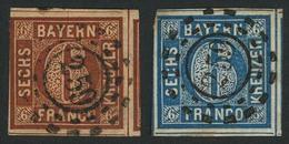 Gestempelt 259 - KREUTH, Je Zentrisch Klar Auf 6 Kr Braun (links Teils Randlinienschnitt, Dreiseitig überrandig) Sowie 6 - Bayern