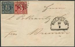 Brief 261 - KULMBACH, Postvereinsbrief Mit Farbfrankatur Am 20.03.1864 Nach Bremen, Taxis-K1 Als Ank.-Stempel - Bayern