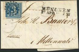Brief 325 - MÜNCHEN, Inlandsbrief Mit Breitrandiger 3 Kr Blau Aus Linker Unterer Bogenecke Mit Allen Vier Schnittlinien  - Bayern