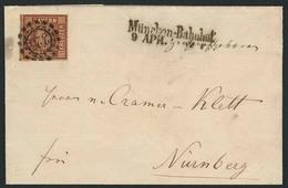 """Brief 325 Nebst Seltenem L2 """"München-Bahnhof 9 APR. 1862"""" Auf Vollrandiger 6 Kr Braun, Platte 3, Als EF Auf Faltbriefhül - Bayern"""